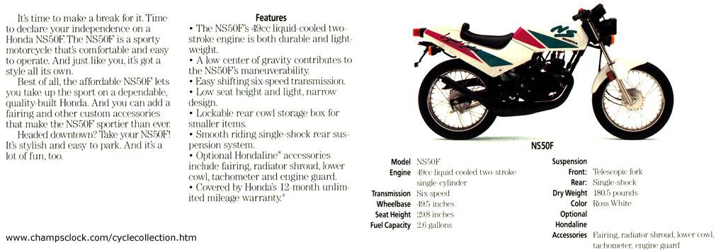 Honda NS50/brochures - CycleChaos Yamaha Motorcycles