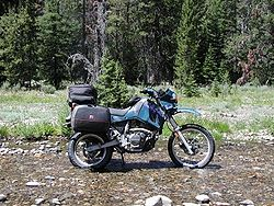 1998 KLR650 in its environment the luggage is not standard