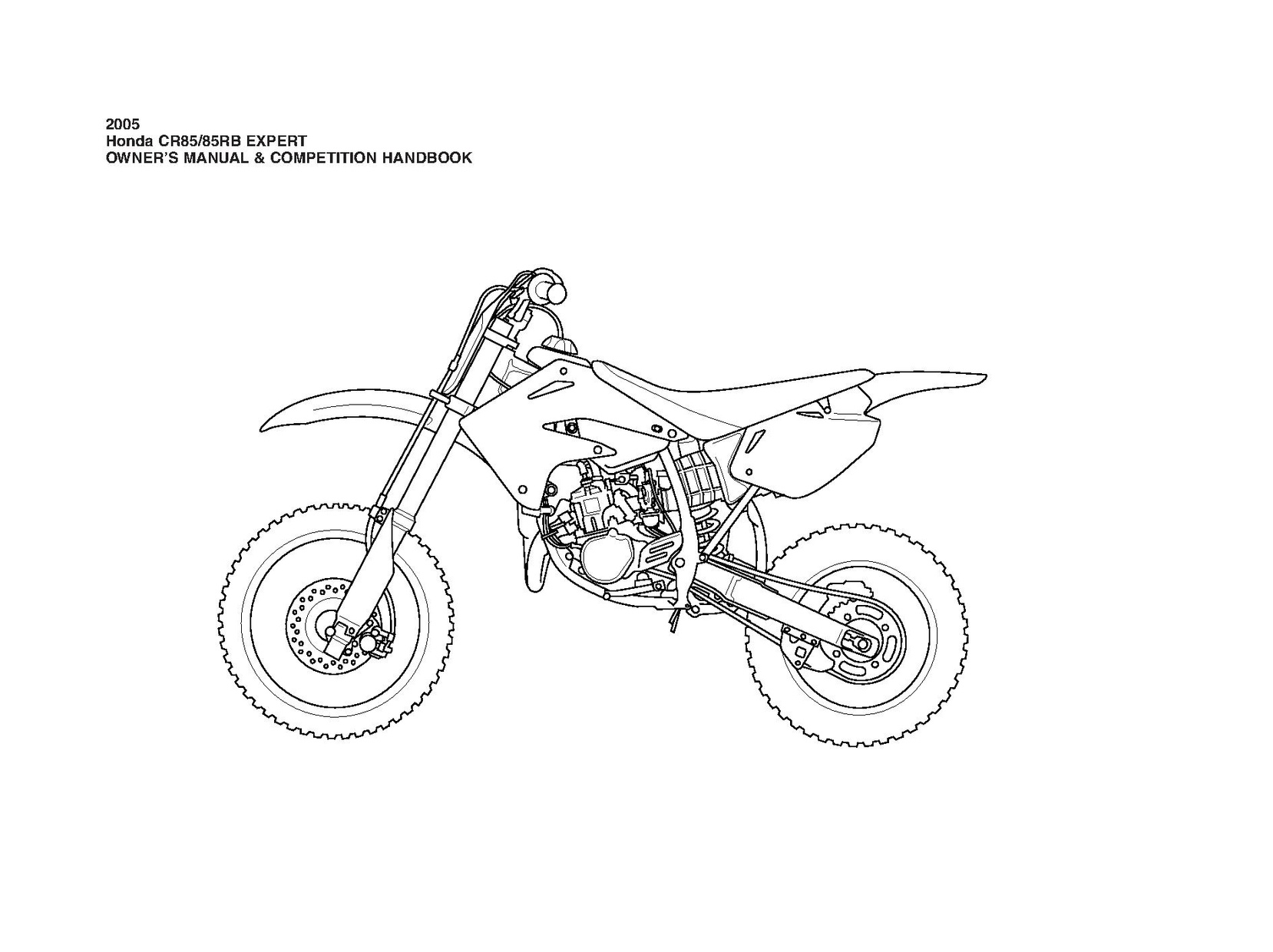 2005 Honda Cr85 85rb Expert Owner S Manual Competition Handbook